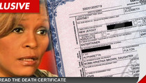 Whitney Houston Death Certificate -- No Official Cause of Death ... Yet
