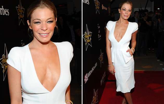 LeAnn Rimes Rocks Extremely Low Cut Dress