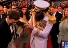 Sacha Baron Cohen -- Spills Ashes All Over Ryan Seacrest at the Oscars