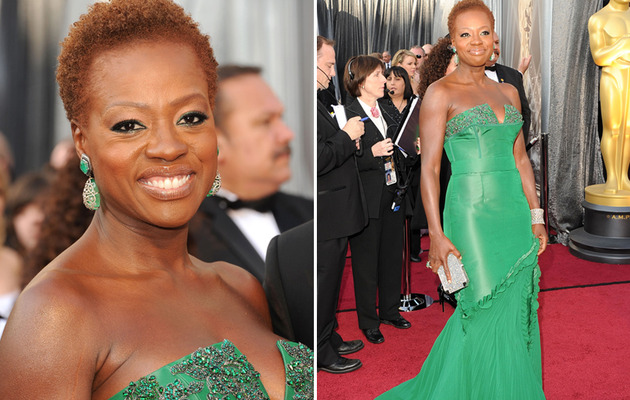 Viola Davis Goes Wigless, Looks Gorgeous In Green