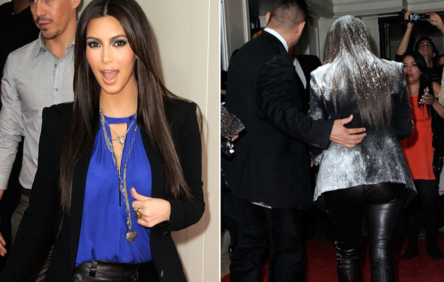 Kim Kardashian Flour-Bombed at Fragrance Event