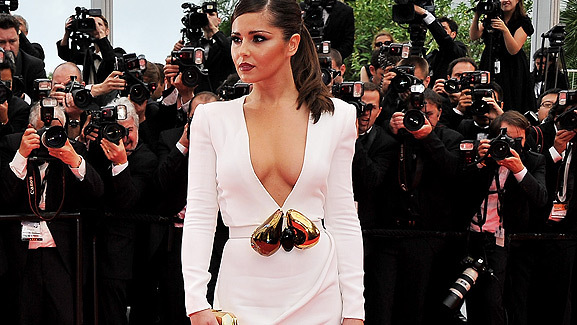Cheryl Cole Shows Off Cleavage at Cannes In Daring Dress!