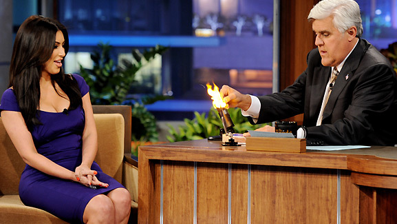Video: Jay Leno Lights Kim Kardashian's Engagement Ring on Fire!