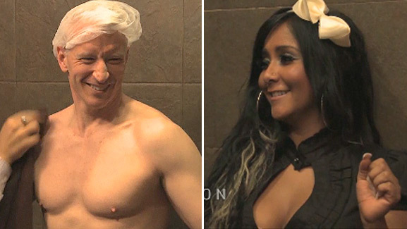 Anderson Cooper Strips, Gets Spray Tanned with Snooki!