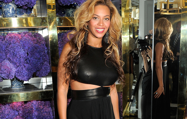 Beyonce Sucks In the Baby Bump in Leather Cut Out Dress