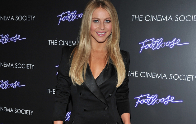"Julianne Hough Sparkles in a Rachel Zoe Tuxedo Dress at the NYC ""Footloose""…"
