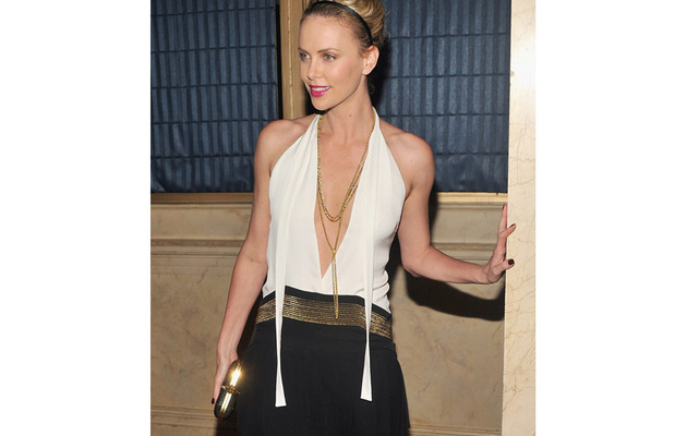 Charlize Theron Stuns with Plunging Neckline