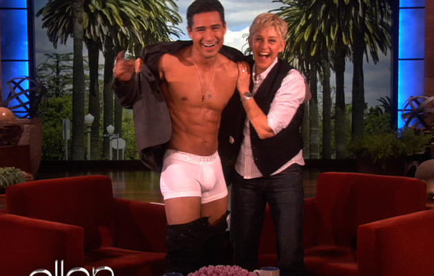 Mario Lopez Strips for Ellen DeGeneres!