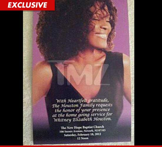Whitney Houston Invitation Its NOT a Funeral Its a Home – Invitation for Funeral