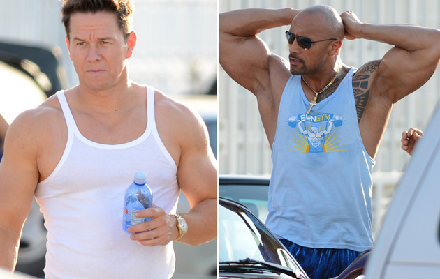 Mark Wahlberg & The Rock Show Buff Bods on Set!
