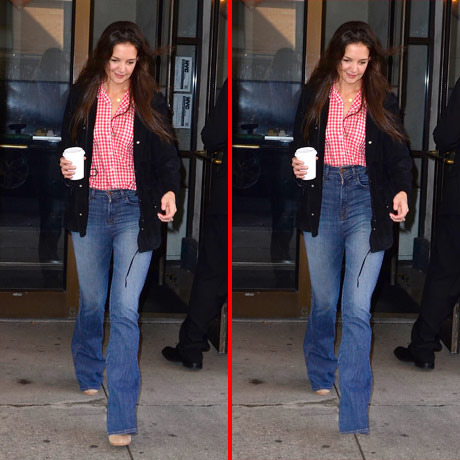 Can you spot the THREE differences in the Katie Holmes picture?