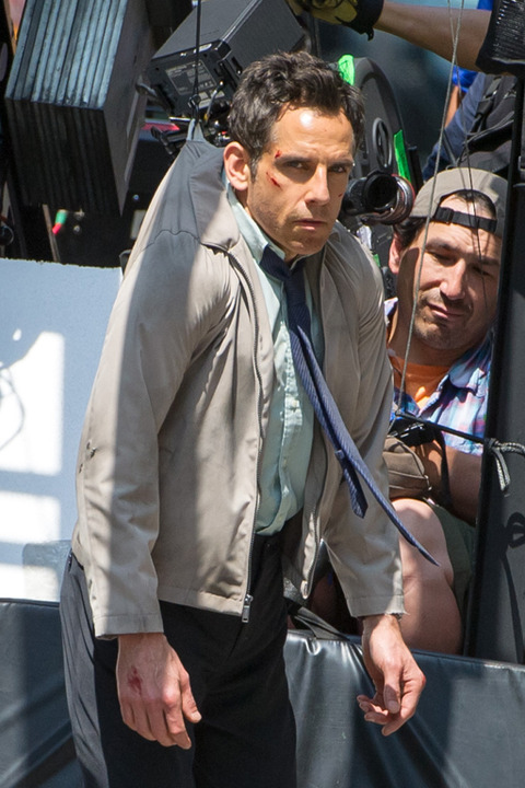 Ben Stiller filming on location for 'The Secret Life Of Walter Mitty' in New York City.