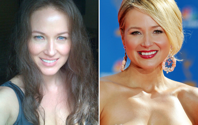 Jewel Almost Unrecognizable with Fake Teeth, Blue Eyes & Dark Hair
