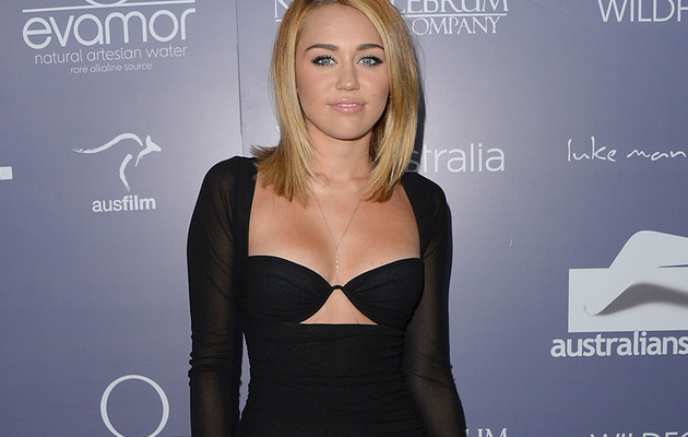 Miley Cryus Hits Red Carpet In Risque Dress!