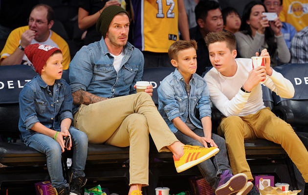 David Beckham Plays Doting Dad with Sons at Lakers Game