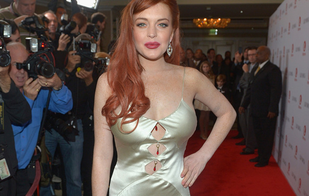 "Lindsay Lohan Shows Skin In Revealing ""Liz & Dick"" Premiere Dress"