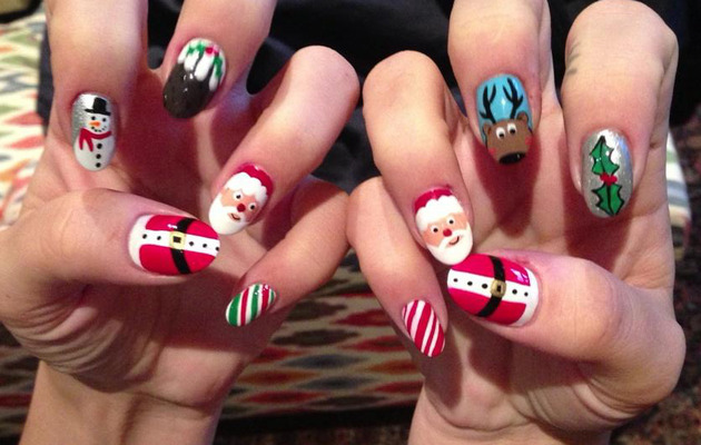 Lily Allen Sports Fun Festive Holiday Nails!