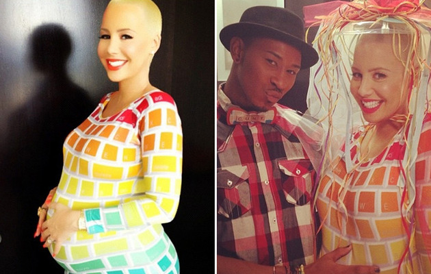 Amber Rose Rocks Keyboard Dress at Baby Shower!