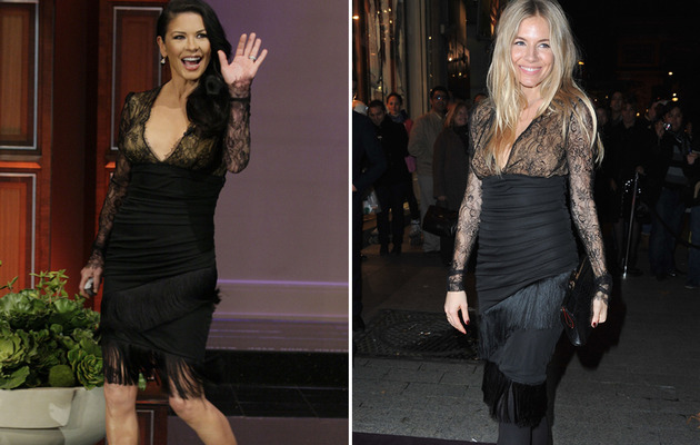 Dueling Dresses: Catherine Zeta-Jones VS. Sienna Miller!