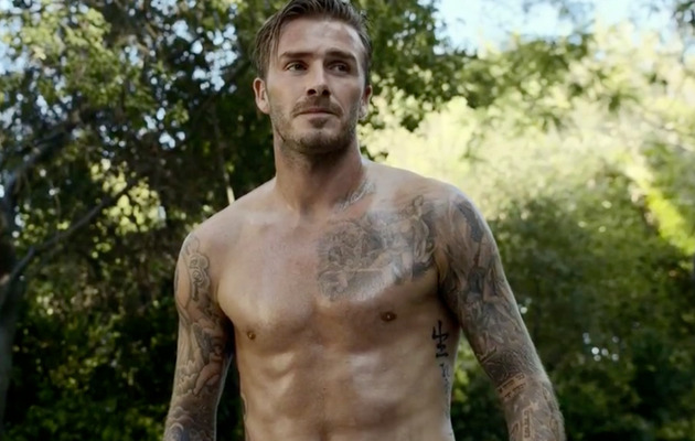 David Beckham Gets Stripped & Wet for New H&M Commercial