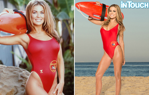 "Carmen Electra Gets Back Into ""Baywatch"" Swimsuit"