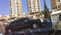 President Obama's Limo -- BUSTED in Israel, Gets Tow Job