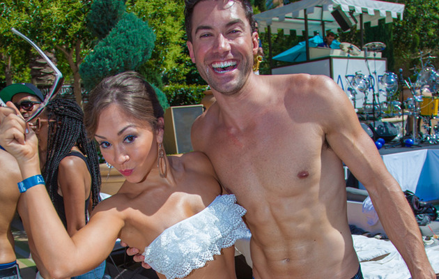 Diana DeGarmo & Ace Young Show Beach Bods at Joint Bachelor Party!