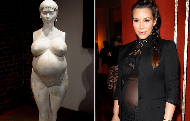 Kim Kardashian Like You've Never Seen Her Before: As a Nude Fertility Statue!