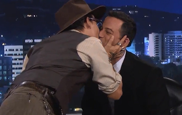 Funny Video: Johnny Depp Kisses Jimmy Kimmel!