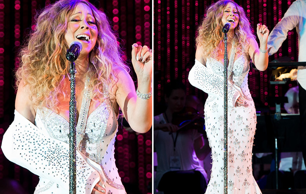 Mariah Carey Rocks Blinged Out Sling During Performance!
