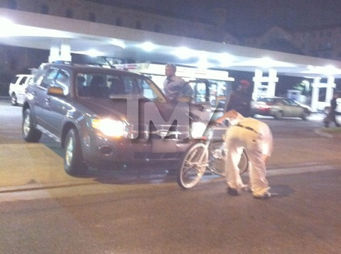 USC quarterback Matt Barkley crashed into a man on a bicycle in Los Angeles
