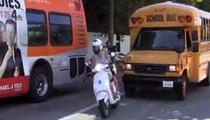Gwyneth Paltrow -- A-HOLE DRIVER OF THE YEAR ... Cuts Off School Bus On Vespa