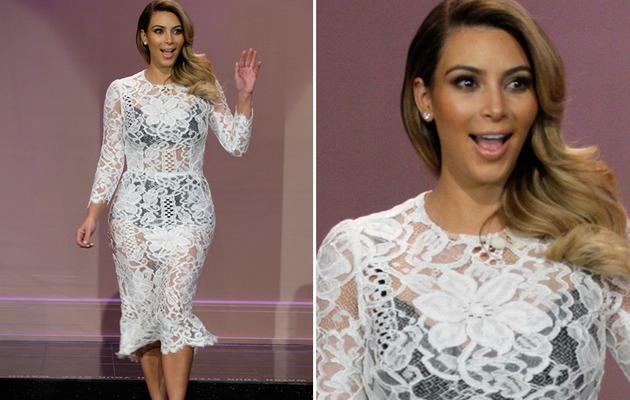 "Kim Kardashian Rocks See Through Dress on ""Tonight Show"""