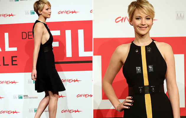 Jennifer Lawrence Flaunts Side-Boob in Rome