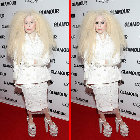 Can you spot the THREE differences in the Lady Gaga picture?