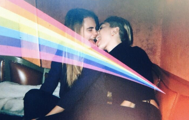 Miley Cyrus & Cara Delevingne Kiss With Tongue -- See the Pic!