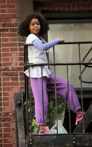 "Quvenzhane Wallis on the set of ""Annie"""