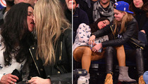 Michelle Rodriguez -- Drunken Courtside Party with Model Cara Delevingne
