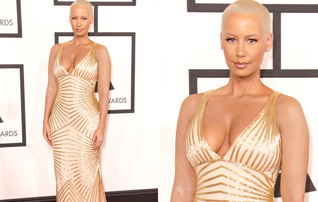 Amber Rose Covers Up Tattoos for Grammy Awards Red Carpet