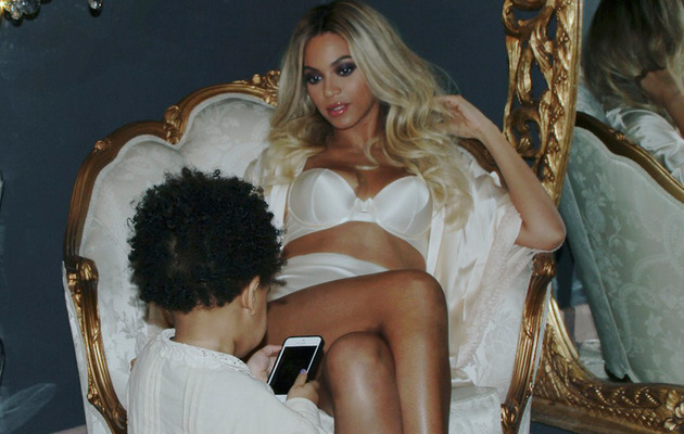 Beyonce Lounges in Lingerie While Blue Ivy Shows Off Blue Mani