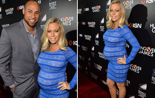 Kendra Wilkinson Squeezes Big Baby Bump Into Tight Dress