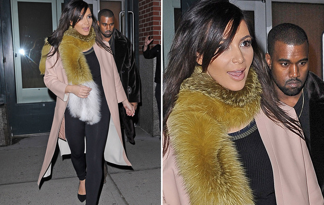 Kim Kardashian Sports Bizarre Fur Scarf While Out With Kanye West!