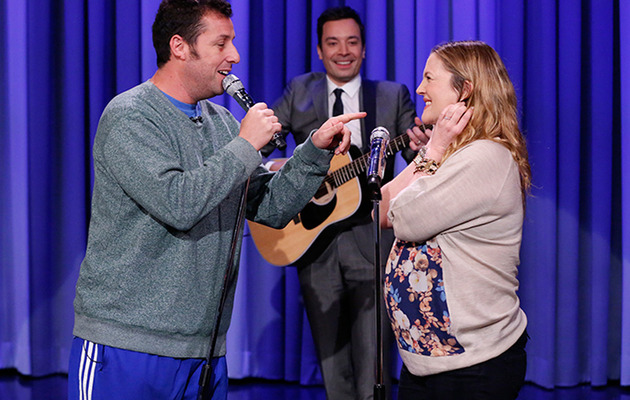"Drew Barrymore & Adam Sandler Reunite for Adorable Duet on ""The Tonight Show"""
