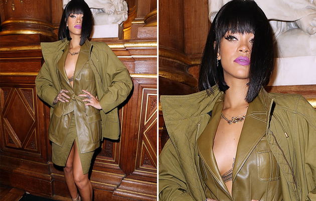 Rihanna Forgets Her Top at Paris Fashion Week