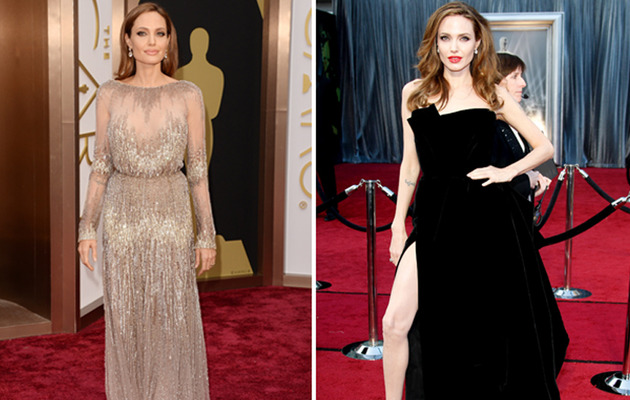Angelina Jolie Stuns at the Oscars -- Which Look Do You Like Better?