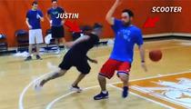 Justin Bieber -- BREAKS SCOOTER'S ANKLES ... In Quasi-Impressive Basketball Clip