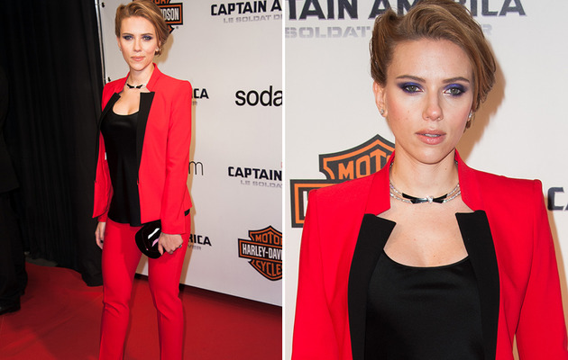 "Scarlett Johansson Looks Red Hot at ""Captain America"" Paris Premiere"