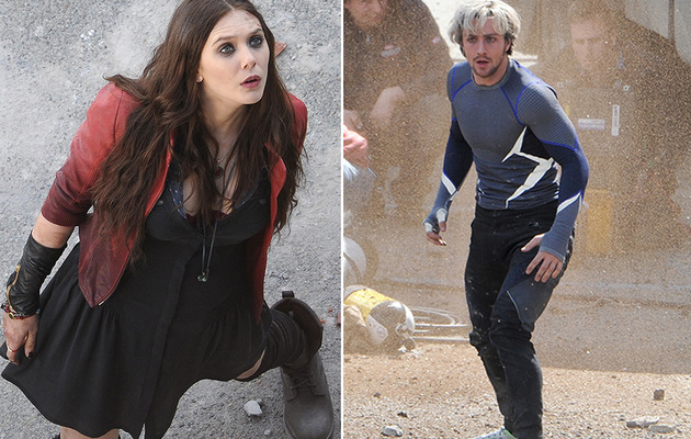"See Scarlet Witch, Quicksilver & Hawkeye on the Set of ""Avengers: Age of…"
