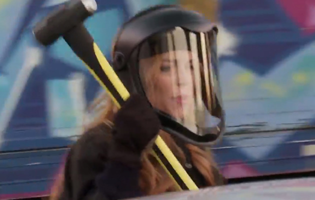 Lindsay Lohan Smashes Car with a Sledgehammer -- Watch the Video!