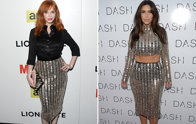 Christina Hendricks Wears Same Chainmail Skirt as Kim Kardashian